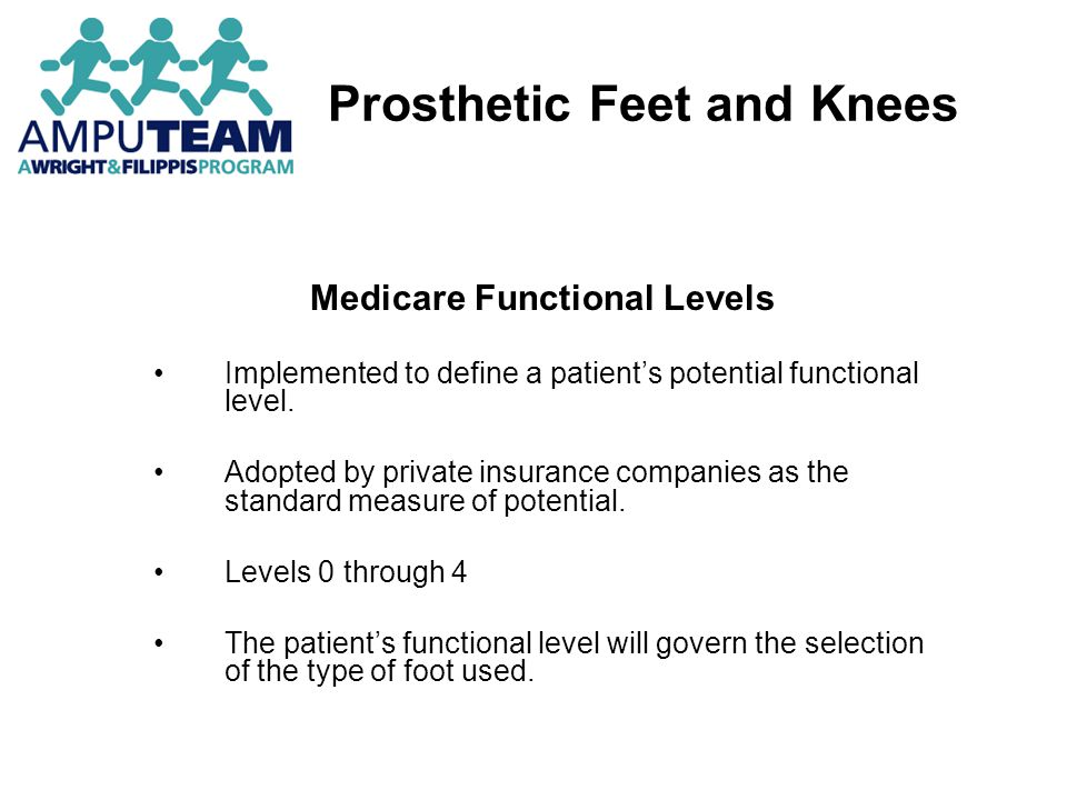 Prosthetic Feet and Knees Medicare Functional Levels Measurement of patient potential to accomplish his/her expected, post-rehabilitation, daily function.