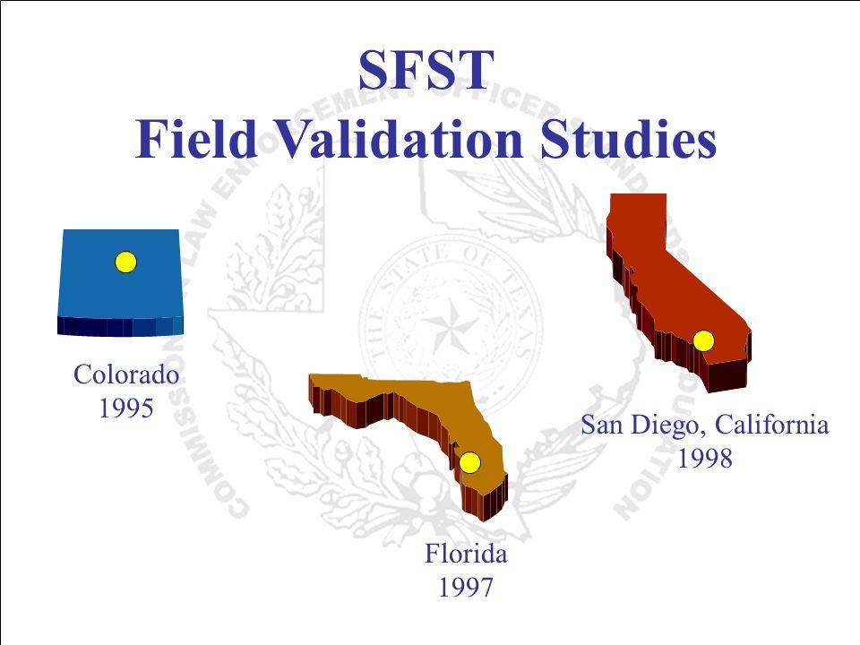SFST Field Validation Studies Colorado 1995 Florida 1997 San Diego, California 1998