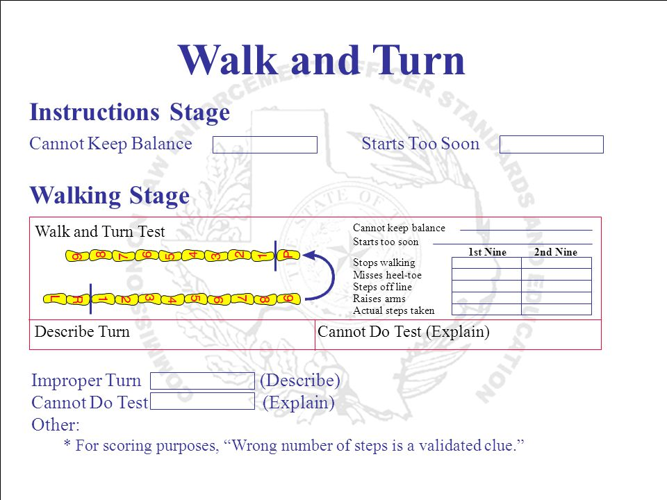 Walk and Turn Instructions Stage Cannot Keep Balance Walking Stage * For scoring purposes, Wrong number of steps is a validated clue. Improper Turn (Describe) Cannot Do Test (Explain) Other: Starts Too Soon Walk and Turn Test Describe Turn Cannot Do Test (Explain) Cannot keep balance Starts too soon Stops walking Misses heel-toe Steps off line Raises arms Actual steps taken 1st Nine 2nd Nine