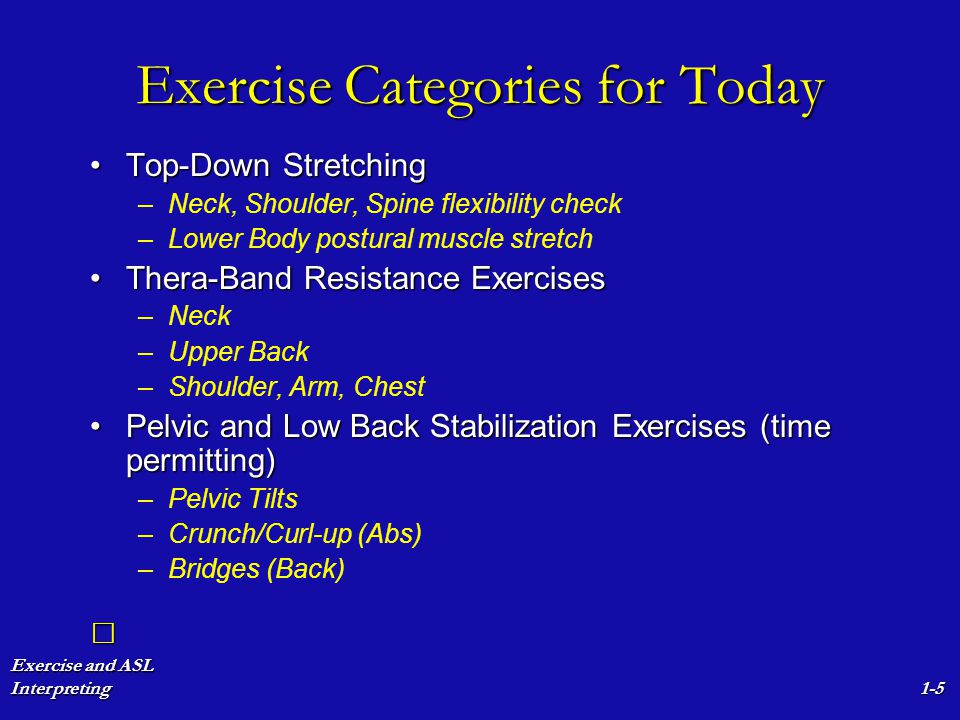 Exercise and ASL Interpreting1-6 Top-Down Stretching NeckNeck – –Ear to Shoulder – –Chin to Shoulder – –Chin Shoulder to Shoulder Shoulder GirdleShoulder Girdle – –Shrug & Hold – –Shoulder Blades together in Back – –Press Hands Downward – –Shoulders together in Front – –Repeat dynamically, increasingly large circles Shoulder JointShoulder Joint – –Same as above, with outstretched arms Trunk/SpineTrunk/Spine – –Gentle Trunk Twists, Palms Up.