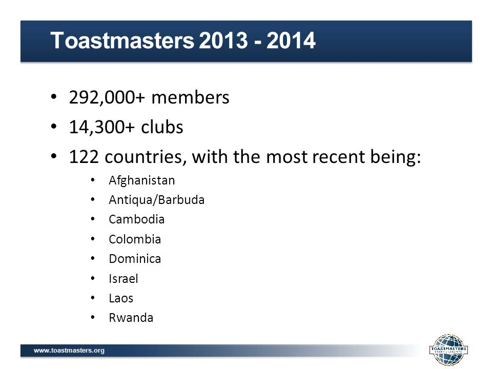 www.toastmasters.org 292,000+ members 14,300+ clubs 122 countries, with the most recent being: Afghanistan Antiqua/Barbuda Cambodia Colombia Dominica Israel Laos Rwanda Toastmasters 2013 - 2014