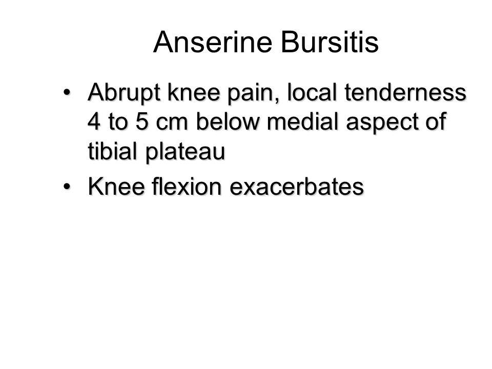 Anserine Bursitis Abrupt knee pain, local tenderness 4 to 5 cm below medial aspect of tibial plateauAbrupt knee pain, local tenderness 4 to 5 cm below