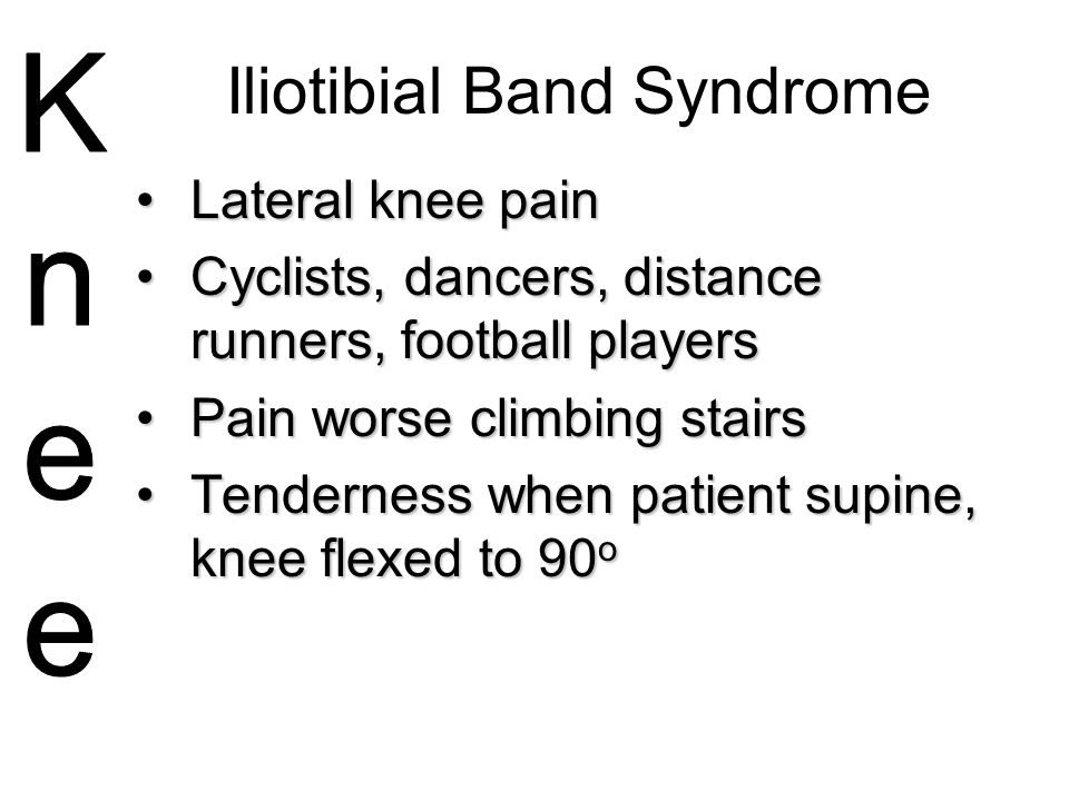 Iliotibial Band Syndrome Lateral knee painLateral knee pain Cyclists, dancers, distance runners, football playersCyclists, dancers, distance runners,