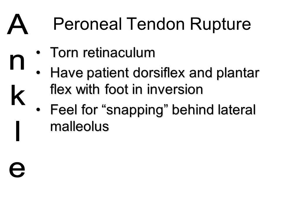 Peroneal Tendon Rupture Torn retinaculumTorn retinaculum Have patient dorsiflex and plantar flex with foot in inversionHave patient dorsiflex and plan