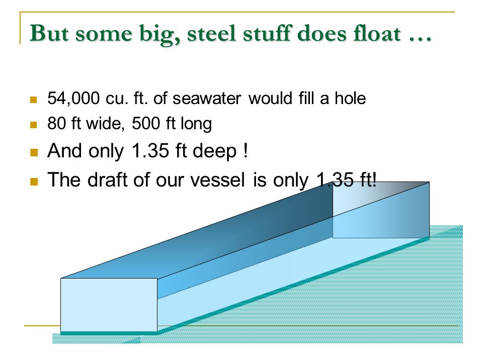 The mean draft is the draft at F (still 30 ft.) not the average of Da & Df The change in drafts (+.8 at the stern & -1.2 at the bow) are not equal but determined by the location of F LCF, mean draft, and (0 trim) LCB are determined by the shape of the hull and change with displacement Trim notes: Da= 30.8 ft Df= 28.8 ft G B Da – Df = 30.8 – 28.8 = 2 ft F