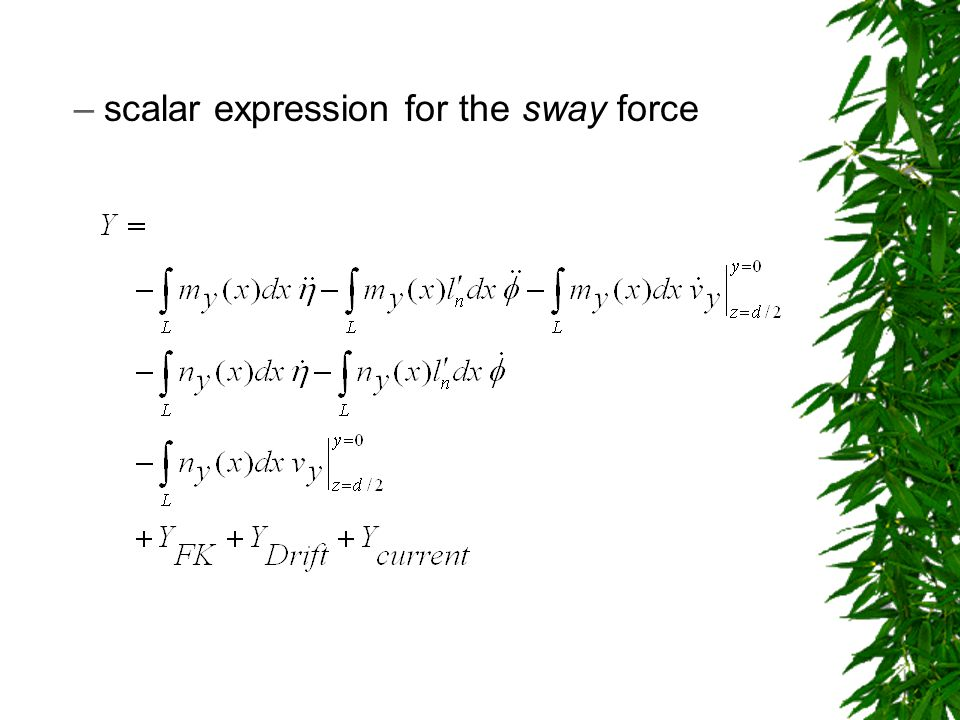 –scalar expression for the sway force