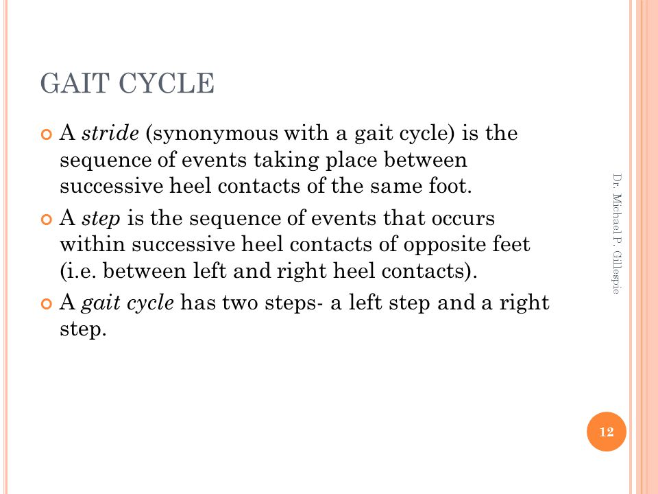 GAIT CYCLE A stride (synonymous with a gait cycle) is the sequence of events taking place between successive heel contacts of the same foot. A step is