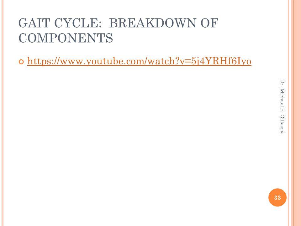 GAIT CYCLE: BREAKDOWN OF COMPONENTS https://www.youtube.com/watch?v=5j4YRHf6Iyo 33 Dr. Michael P. Gillespie