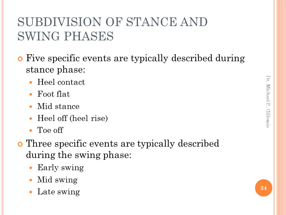 SUBDIVISION OF STANCE AND SWING PHASES Five specific events are typically described during stance phase: Heel contact Foot flat Mid stance Heel off (h