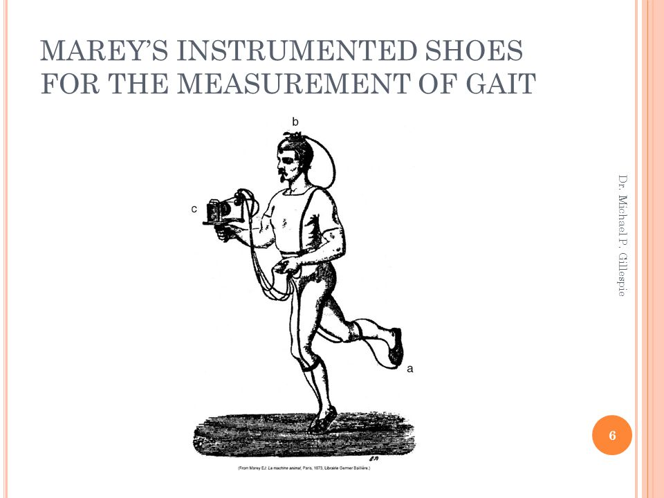 MAREY'S INSTRUMENTED SHOES FOR THE MEASUREMENT OF GAIT 6 Dr. Michael P. Gillespie