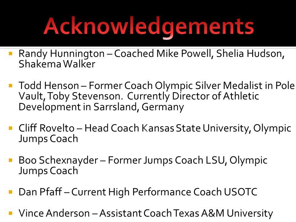  Randy Hunnington – Coached Mike Powell, Shelia Hudson, Shakema Walker  Todd Henson – Former Coach Olympic Silver Medalist in Pole Vault, Toby Stevenson.
