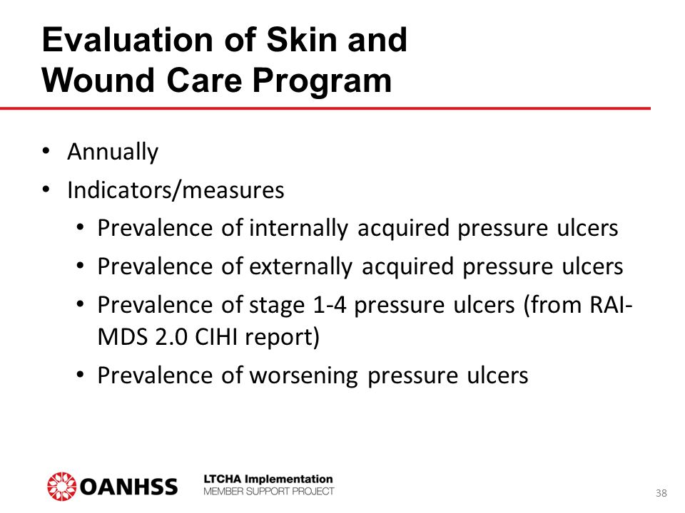 Evaluation of Skin and Wound Care Program Annually Indicators/measures Prevalence of internally acquired pressure ulcers Prevalence of externally acqu