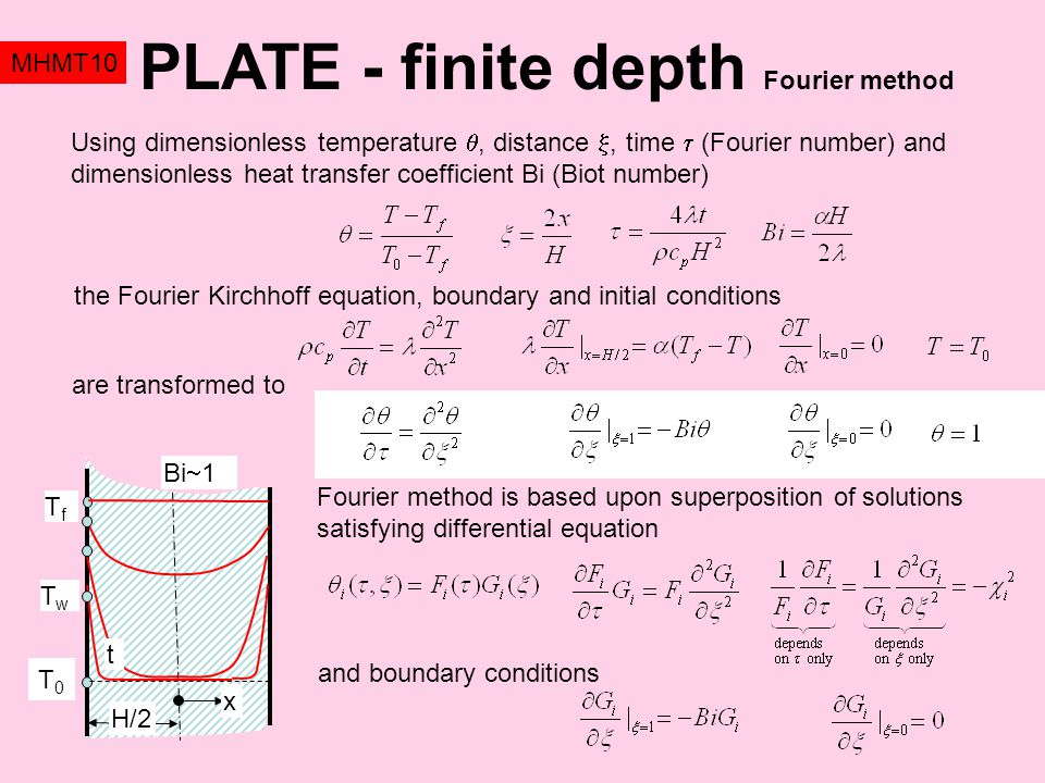 PLATE - finite depth Fourier method MHMT10 Fourier method is based upon superposition of solutions satisfying differential equation TfTf T0T0 H/2 Bi  1 t TwTw x the Fourier Kirchhoff equation, boundary and initial conditions Using dimensionless temperature , distance , time  (Fourier number) and dimensionless heat transfer coefficient Bi (Biot number) are transformed to and boundary conditions