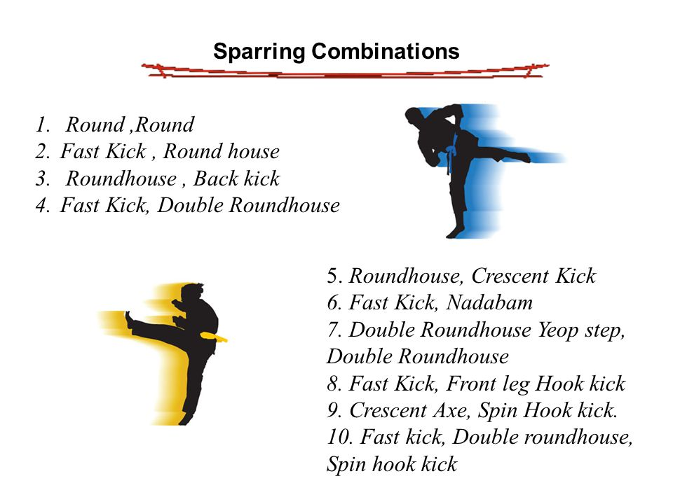 Sparring Combinations 1. Round,Round 2.Fast Kick, Round house 3.