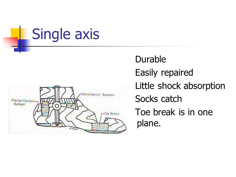 Single axis Durable Easily repaired Little shock absorption Socks catch Toe break is in one plane.