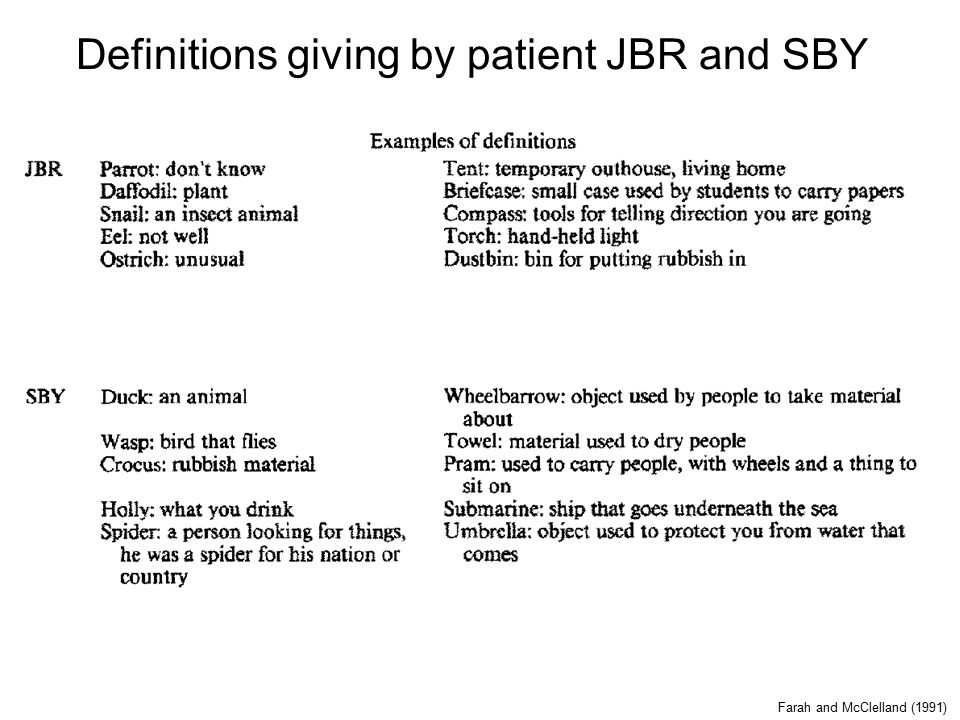 Definitions giving by patient JBR and SBY Farah and McClelland (1991)
