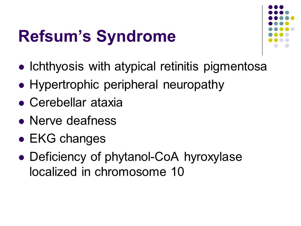 Refsum's Syndrome Ichthyosis with atypical retinitis pigmentosa Hypertrophic peripheral neuropathy Cerebellar ataxia Nerve deafness EKG changes Deficiency of phytanol-CoA hyroxylase localized in chromosome 10