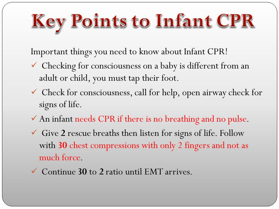 This Video is from the British Red Cross. It will take you through the important steps of CPR for an infant! Click to watch the video! http://www.yout