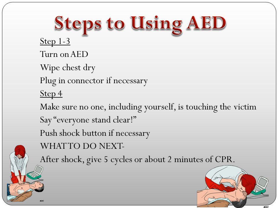 This is a video that takes you through the entire process of CPR and use of an AED on an adult. Pay close attention to make sure you remember all this