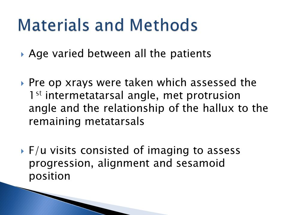  Age varied between all the patients  Pre op xrays were taken which assessed the 1 st intermetatarsal angle, met protrusion angle and the relationsh