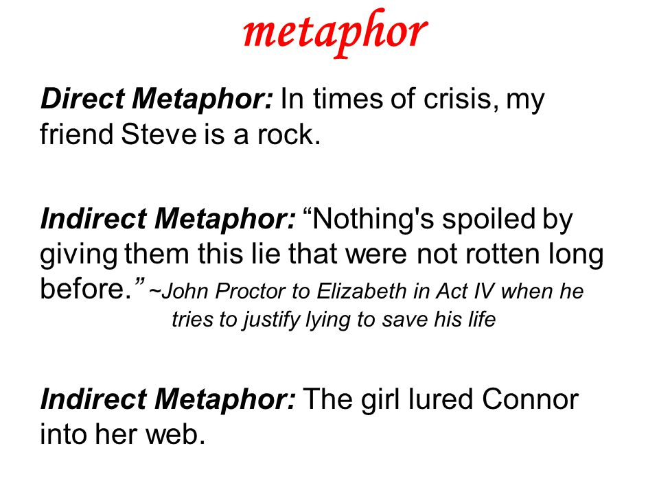 """metaphor Direct Metaphor: In times of crisis, my friend Steve is a rock. Indirect Metaphor: """"Nothing's spoiled by giving them this lie that were not r"""