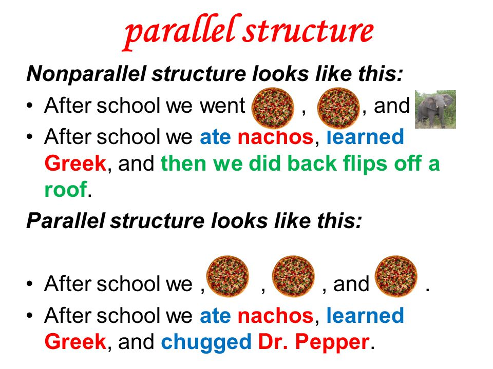 parallel structure Nonparallel structure looks like this: After school we went,, and After school we ate nachos, learned Greek, and then we did back f
