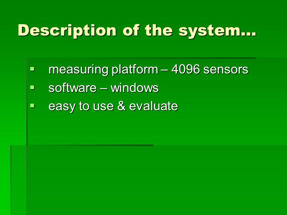 Description of the system…  measuring platform – 4096 sensors  software – windows  easy to use & evaluate