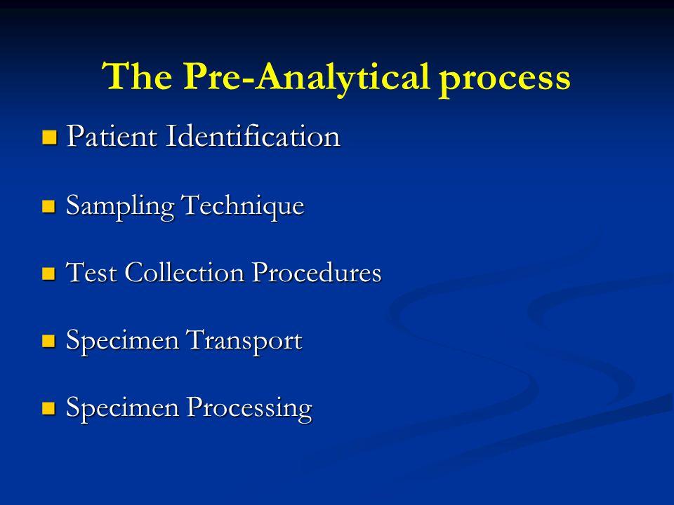 The Pre-Analytical process Patient Identification Patient Identification Sampling Technique Sampling Technique Test Collection Procedures Test Collect