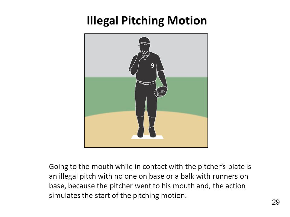 Illegal Pitching Motion Going to the mouth while in contact with the pitcher's plate is an illegal pitch with no one on base or a balk with runners on