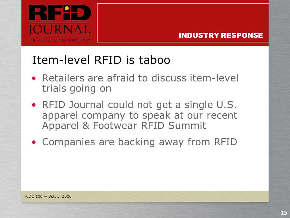 AIDC 100 — Oct. 5, 2006 14 INDUSTRY RESPONSE Created best practices Lobbied against RFID bills Spoken positively about RFID in the media Supported AIM
