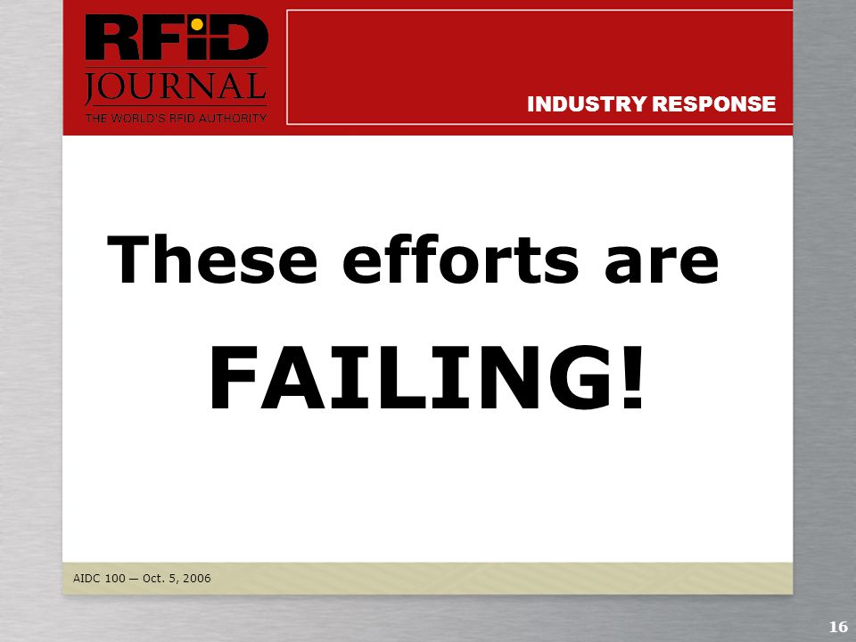 AIDC 100 — Oct. 5, 2006 15 INDUSTRY RESPONSE Retailers are afraid to discuss item-level trials going on RFID Journal could not get a single U.S. appar