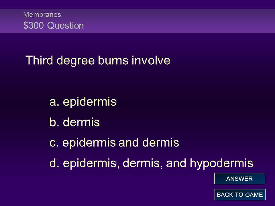 Membranes $300 Question Third degree burns involve a.