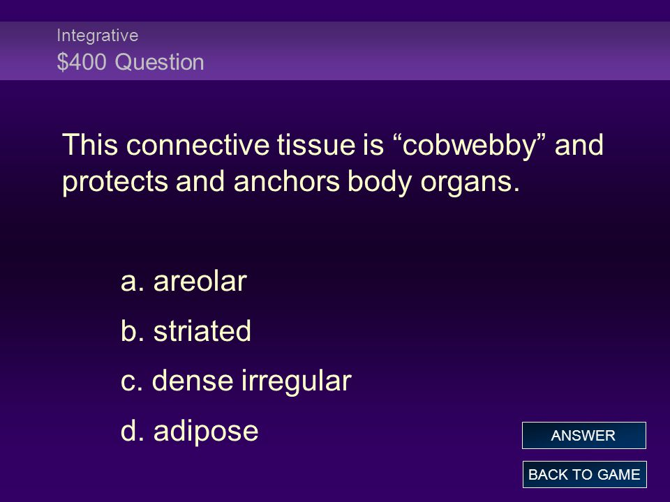 Integrative $400 Question This connective tissue is cobwebby and protects and anchors body organs.