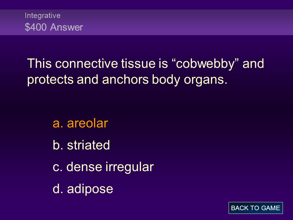 Integrative $400 Answer This connective tissue is cobwebby and protects and anchors body organs.