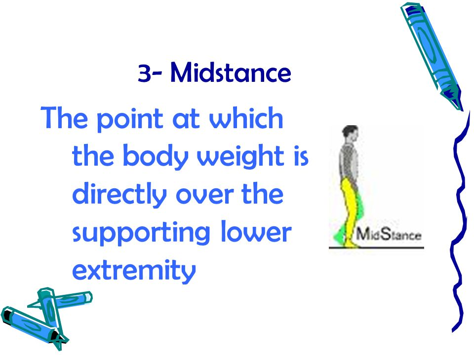 3- Midstance The point at which the body weight is directly over the supporting lower extremity