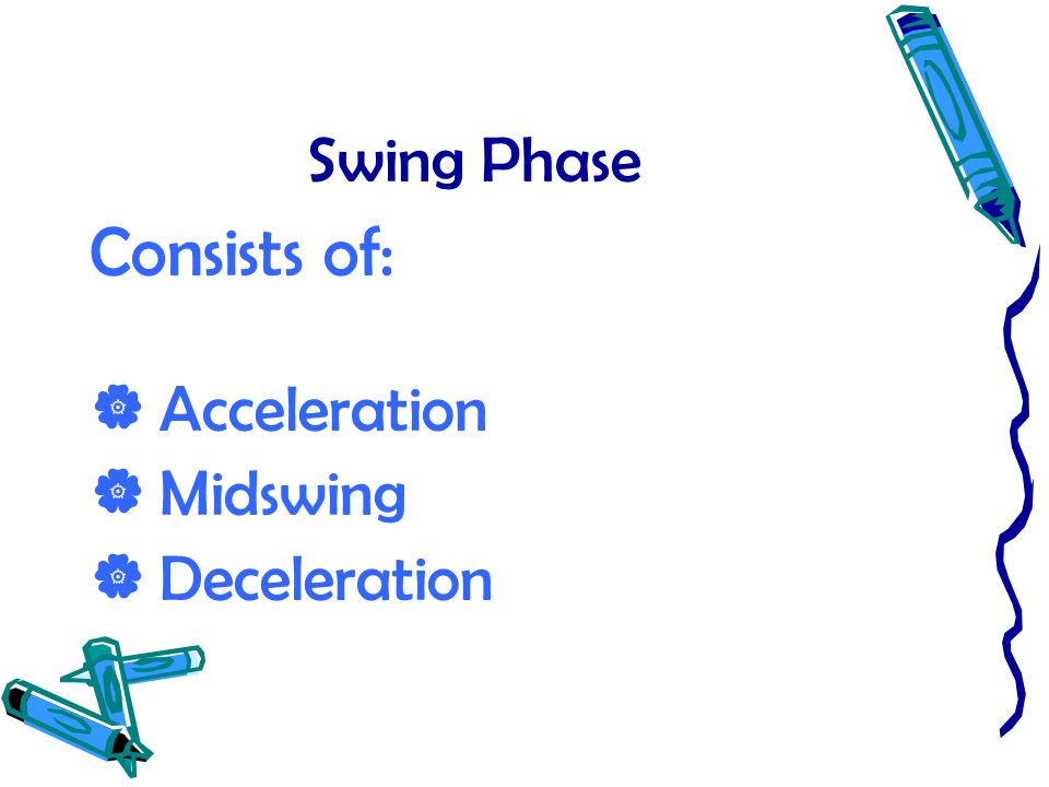 Swing Phase Consists of:  Acceleration  Midswing  Deceleration