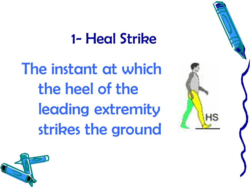1- Heal Strike The instant at which the heel of the leading extremity strikes the ground