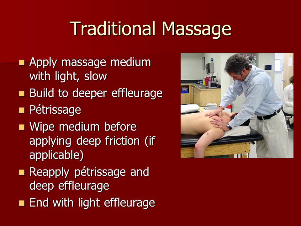 Traditional Massage Apply massage medium with light, slow Apply massage medium with light, slow Build to deeper effleurage Build to deeper effleurage