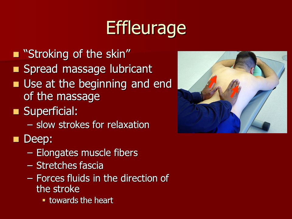 """Effleurage """"Stroking of the skin"""" """"Stroking of the skin"""" Spread massage lubricant Spread massage lubricant Use at the beginning and end of the massage"""