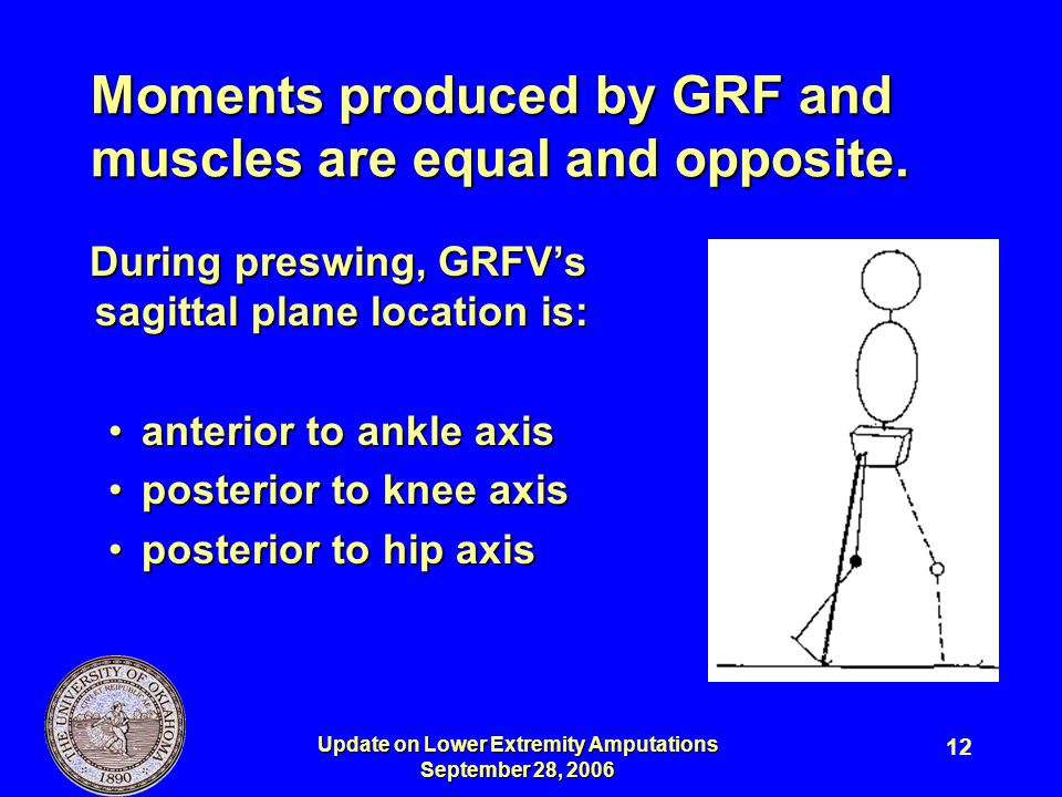 Update on Lower Extremity Amputations September 28, 2006 12 Moments produced by GRF and muscles are equal and opposite. During preswing, GRFV's sagitt
