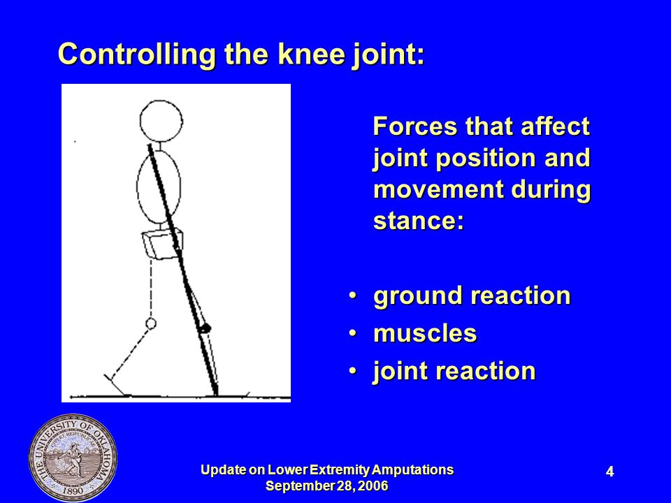 Update on Lower Extremity Amputations September 28, 2006 15 Moments produced by GRF and muscles are equal and opposite.