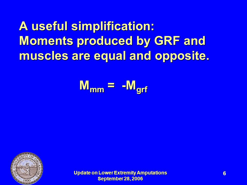 Update on Lower Extremity Amputations September 28, 2006 6 A useful simplification: Moments produced by GRF and muscles are equal and opposite. M mm =