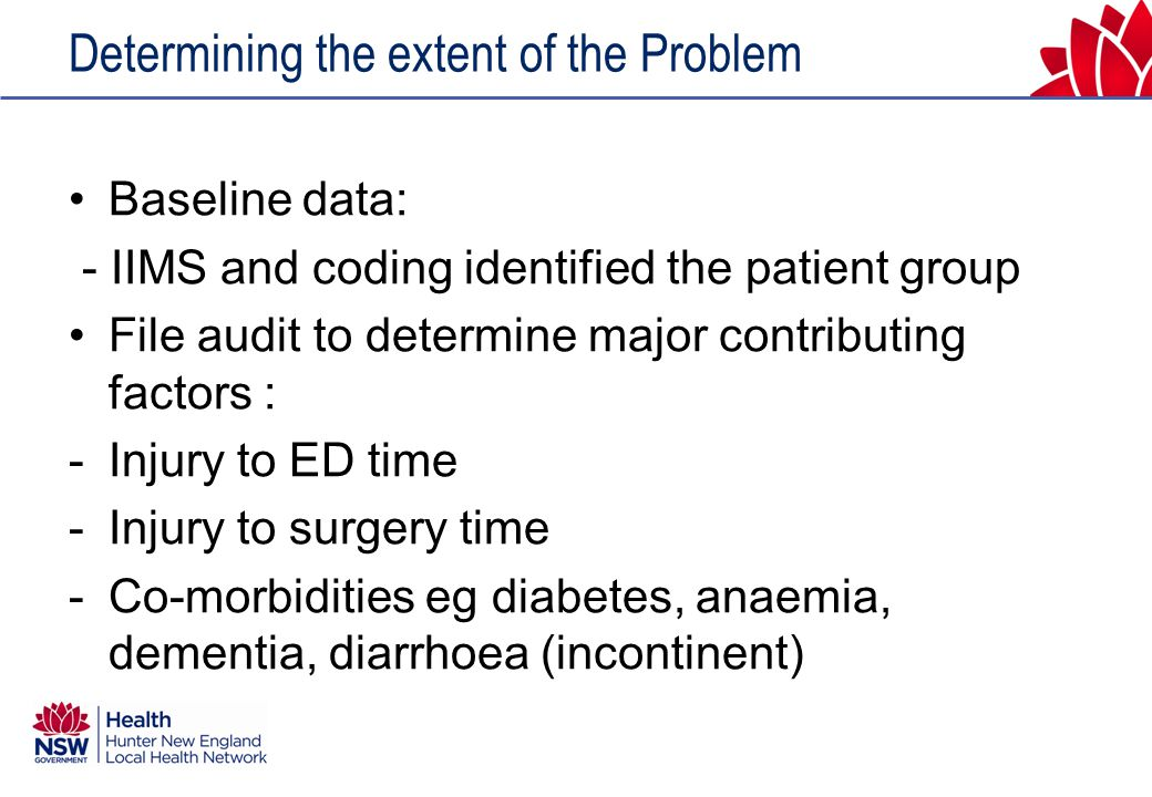 Determining the extent of the Problem Baseline data: - IIMS and coding identified the patient group File audit to determine major contributing factors : -Injury to ED time -Injury to surgery time -Co-morbidities eg diabetes, anaemia, dementia, diarrhoea (incontinent)