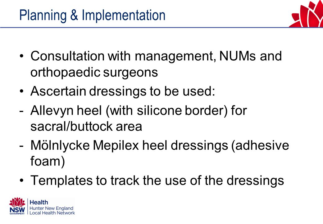Ongoing data Latest audit of hip fracture presentations for the period 1/10/11 – 30/9/12 showed further reduction to 2.5% = 2 patients with pressure ulcers from 78 hip presentations (compared to the initial 22.2% in 2010 and 8.8% in 2011).
