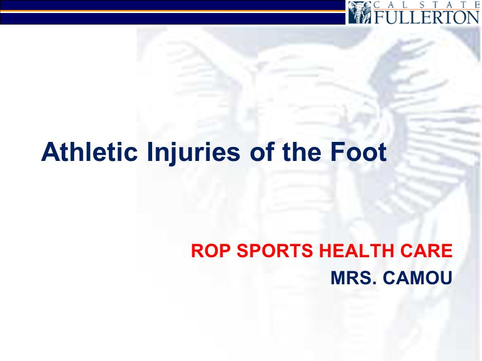 Foot Strains and Sprains Arches –Medial longitudinal arch strain Plantar fasciitis –Heel spur syndrome Phalanges –Great toe MP joint Turf Toe Sprain ligaments of big toe