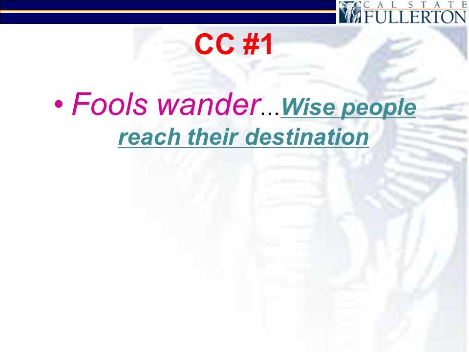 CC #1 Fools wander … Wise people reach their destination