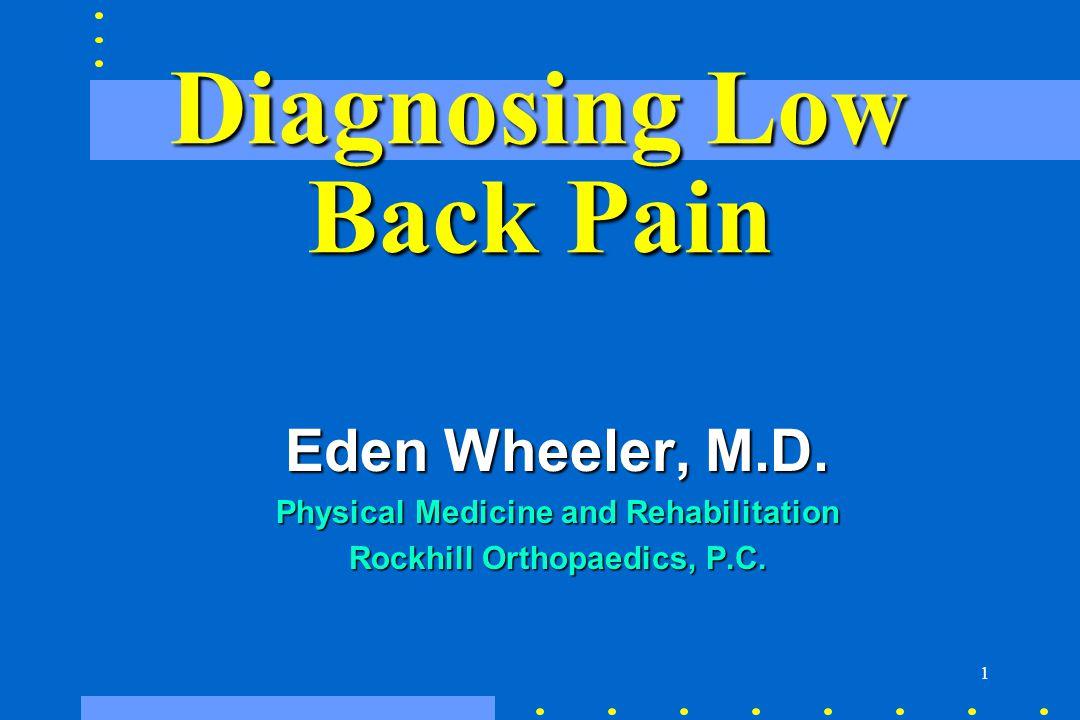 1 Diagnosing Low Back Pain Eden Wheeler, M.D. Eden Wheeler, M.D. Physical Medicine and Rehabilitation Physical Medicine and Rehabilitation Rockhill Or