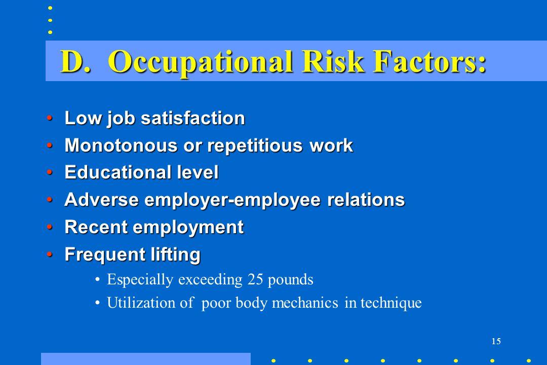 15 D. Occupational Risk Factors: Low job satisfactionLow job satisfaction Monotonous or repetitious workMonotonous or repetitious work Educational lev