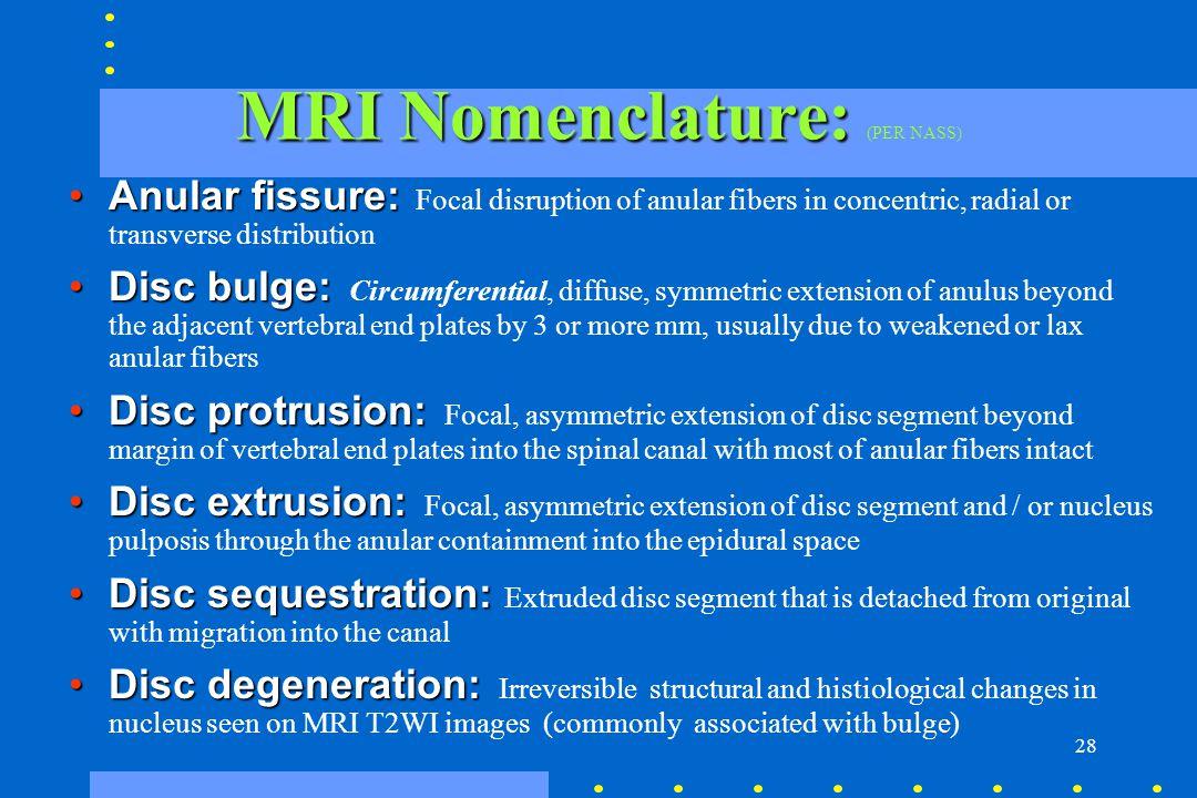 28 MRI Nomenclature: MRI Nomenclature: (PER NASS) Anular fissure:Anular fissure: Focal disruption of anular fibers in concentric, radial or transverse