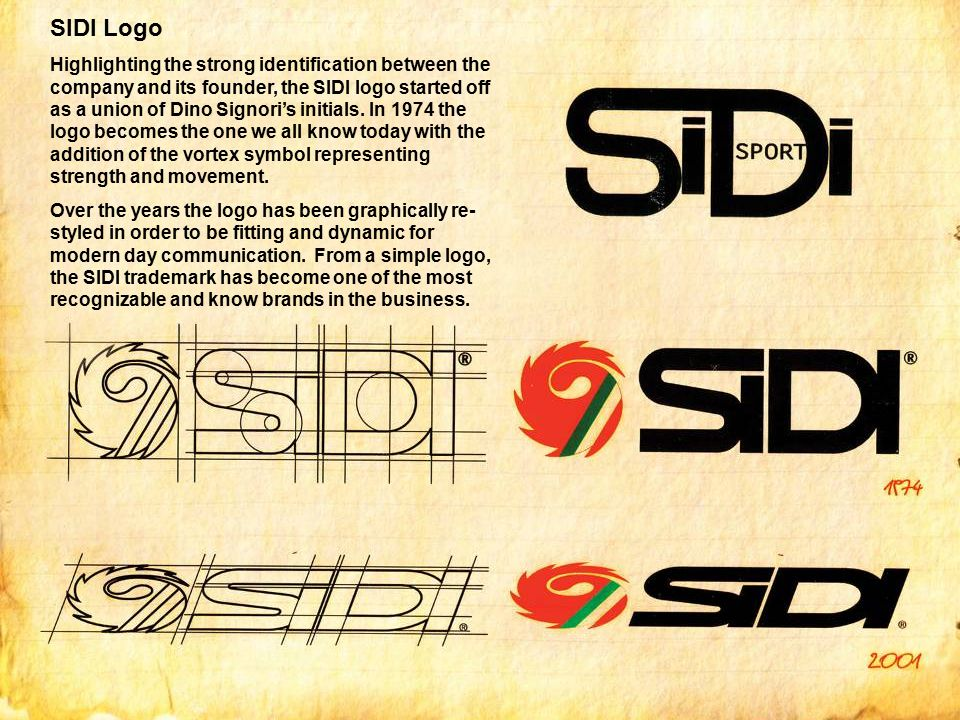 SIDI Logo Highlighting the strong identification between the company and its founder, the SIDI logo started off as a union of Dino Signori's initials.